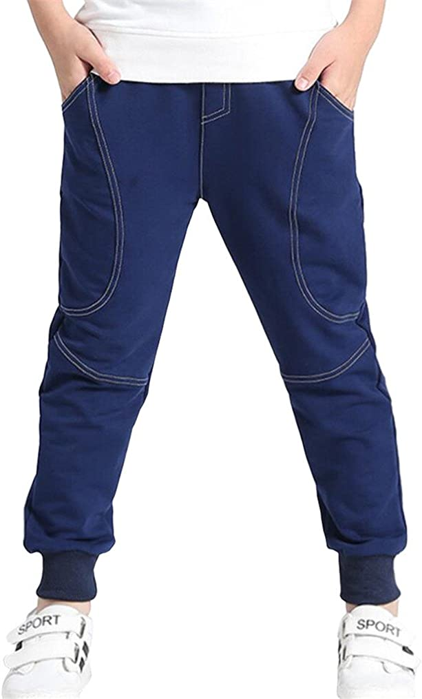 BINIDUCKLING Boys/'Cotton Elastic Sweatpants Sports Pants Outdoor for Children Jogger Pants Toddler Elastic Waist Cotton Casual Sweatpants 2 PCS Set 2T-7T