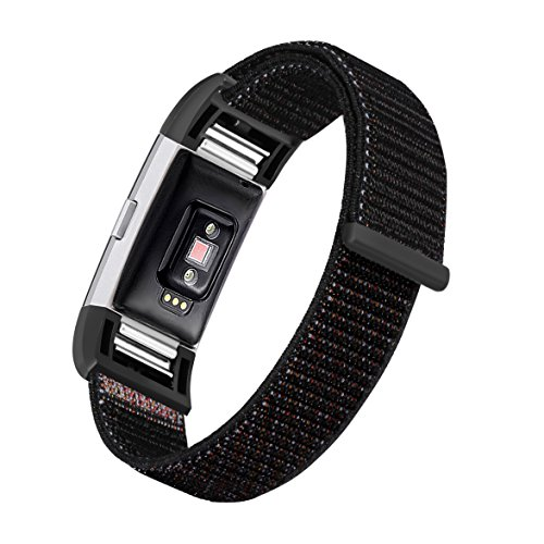 bayite Nylon Bands Compatible Fitbit Charge 2, Replacement Accessory Strap Wristbands Women Men Large Small, Color6 Small
