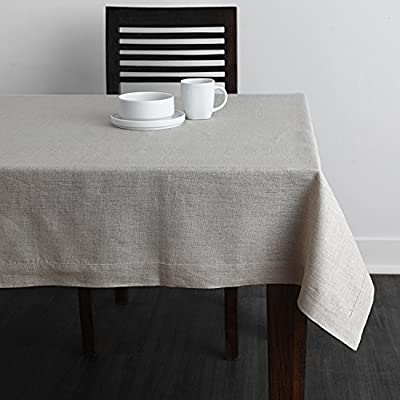 Solino Home 100% Linen Tablecloth - 60 x 144 Inch Natural, Natural Fabric, European Flax - Athena Rectangular Tablecloth for Indoor and Outdoor use - Handcrafted by skilled Artisans from 100% European Flax Size - 60 x 144 Inch Easy Care - Machine Washable, Low Iron as Needed - tablecloths, kitchen-dining-room-table-linens, kitchen-dining-room - 51g1Ih2xmJL. SS400  -