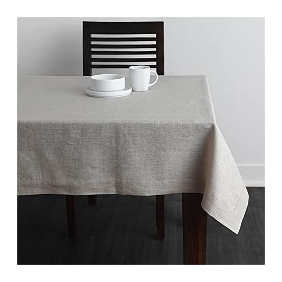 Solino Home 100% Pure Linen Tablecloth - 60 x 144 Inch Natural, Natural Fabric, European Flax - Athena Rectangular Tablecloth for Indoor and Outdoor use - Handcrafted by skilled Artisans from 100% European Flax Size - 60 x 144 Inch Easy Care - Machine Washable, Low Iron as Needed - tablecloths, kitchen-dining-room-table-linens, kitchen-dining-room - 51g1Ih2xmJL. SS570  -