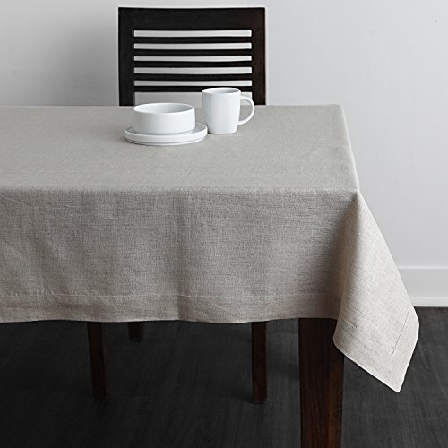 Solino Home 100% Linen Tablecloth - 60 x 102 Inch Natural, Natural Fabric, European Flax - Athena Rectangular Tablecloth for Indoor and Outdoor use