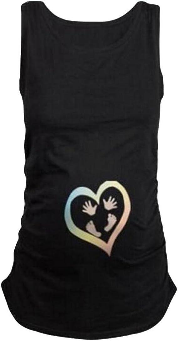 Cinnamou Camiseta Huellas Estampado para Mujeres Embarazadas ...