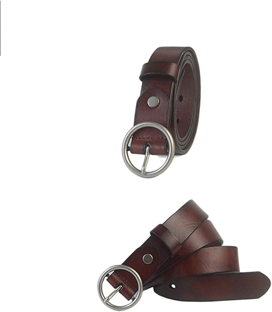 H-M-STUDIO MenS Belts Rings MenS Women Leather Belts Circles Wild Belts Buckles And Ancient Trousers Yellow 100Cm