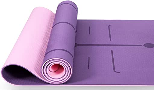 Lamberia Yoga Mat—Non Slip Fitness Exercise Mat with Alignment Marker System, All-Purpose Eco Friendly Pilates and Floor Exercises Anti-Tear Exercise Yoga Mat with Carrying Strap