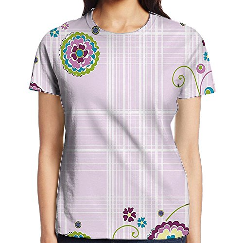 WuLion Light Lilac Backdrop Colored Image with White Stripes and Floral Frame Art Print Women