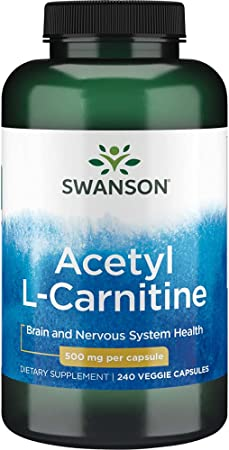 Swanson Acetyl-L-Carnitine Cognitive Health, Nervous System Support, Protection from oxidative Stress, Muscle Health, Workout Enhancer, (from Acetyl-L-carnitine HCl) 500 mg per Capsule 240 Capsules