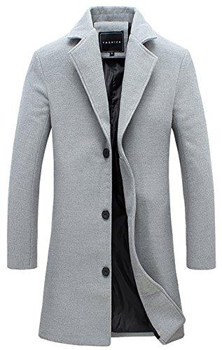 Simple Wool Coat (QZUnique Men's Fashion Simple Slim Fit Lapel Collar Casual Wool Coat US M)