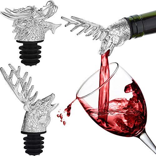 - 2 Pieces Stainless Steel Wine Pourer Bottle Pourer Wine Aerator Pourer Dragon and Deer Head Shape Wine Bottle Stopper
