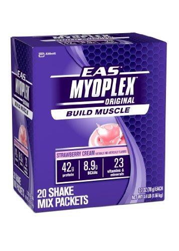 Eas 20 Packet - EAS Strawberry Cream Myo Plex Original Shake Mix Packets - Pack of 20 by EAS