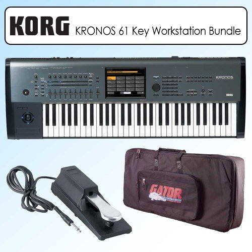 Korg KRONOS6 61-Key Music Synthesizer Workstation Keyboard with Bag and Universal Sustain Pedal