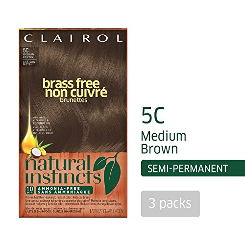 Clairol Natural Instincts Semi-Permanent Hair Color (Pack of 3), 5C Brass Free Medium Brown Color, Ammonia Free, Lasts for 28 Shampoos by Clairol (Image #12)