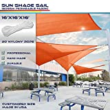 Windscreen4less 16' x 16' x 16' Sun Shade Sail Canopy in Orange with Commercial Grade (3 Year Warranty) Customized