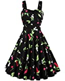 ZAFUL 1950s Vintage Rockabilly Floral Sleeveless Swing Party Dress (2XL, Black)