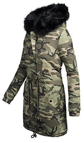 Verde pelliccia imbottitura militare con design Parka B421 donna con in da invernale camouflage Zw86q7v4