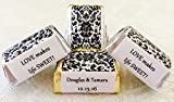 300 DAMASK BLACK & WHITE Themed Wedding Candy wrappers/stickers/labels for HERSHEY NUGGET CHOCOLATES (Personalized Favors)