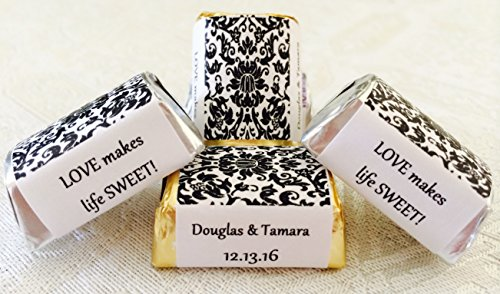 300 DAMASK BLACK & WHITE Themed Wedding Candy wrappers/stickers/labels for HERSHEY NUGGET CHOCOLATES (Personalized -