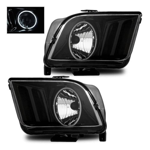 SPPC Headlights Black Assembly Set (CCFL Halo) For Ford Mustang - (Pair) Driver Left and Passenger Right Side Replacement ()