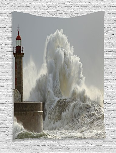 Ambesonne Lighthouse Decor Collection, Big Waves in a Sunny Storm Portuguese North Coast Catastrophe Disaster Beacon Picture, Bedroom Living Room Dorm Wall Hanging Tapestry, (Lighthouse Room Divider)