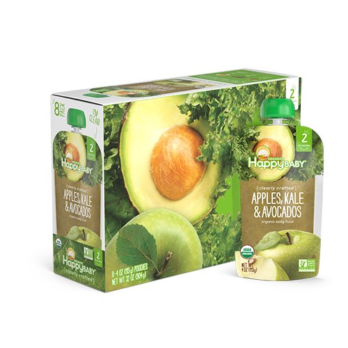 Happy Baby Organic Clearly Crafted Stage 2 Baby Food Apples Kale & Avocados, 4 Ounce Pouch (Pack of 16) Resealable Baby Food Pouches, Fruit & Veggie Puree, Organic Non-GMO Gluten Free Kosher