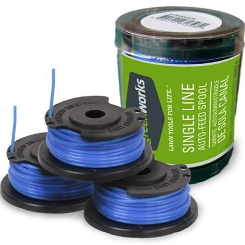 Greenworks .065-Inch Single Line String Trimmer Replacement Spool 3-Pack 29252 ()