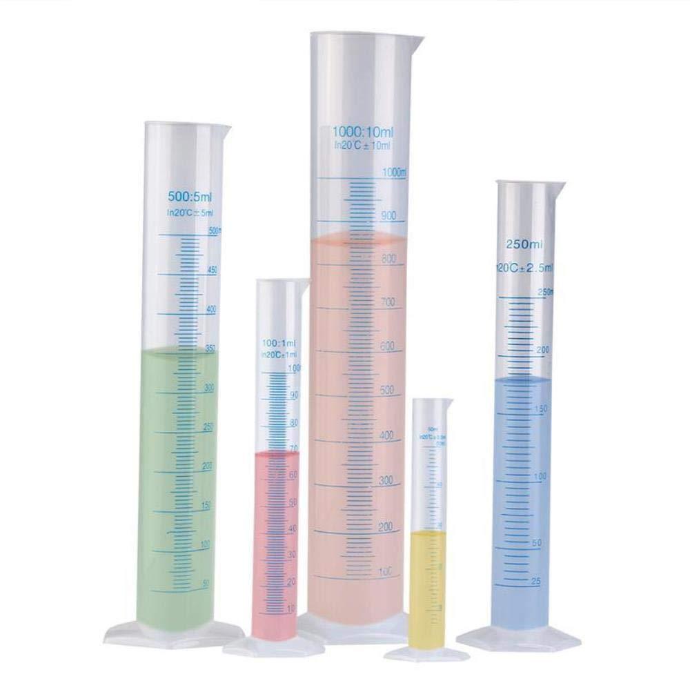 250 ml 100 ml 1000 ml 500 ml QIQI 5 Piezas Cilindro Graduado de pl/ástico Transparente de medici/ón 50 ml