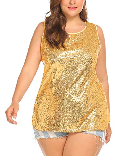 IN'VOLAND Womens Sequin Top Plus Size Tank Tops Sparkle Glitter Party Summer Sleeveless T Shirts Tunics Gold