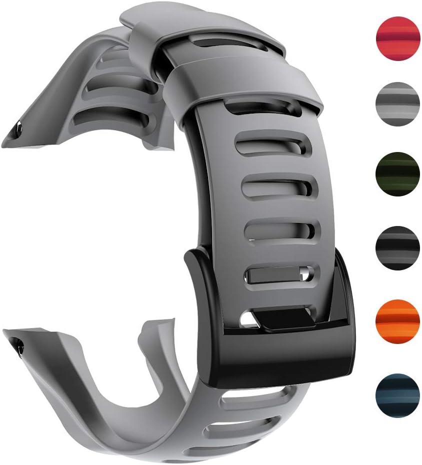 Bosixty Pulsera Correa de Reloj Ajustable Pulsera de Repuesto Accesorios de Banda de Reloj para SUUNTO Ambit 1 2 2R 2S 3 Sport Run Peak GPS Smartwatch Correa de Silicona (Gris)