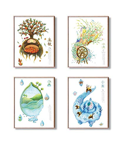 Modern More Art-The Four Seasons Original Fantasy Artwork Fine Print Decor Wall For Home Kids office-Unframed Poster Art Painting 8x10 11x14in Spring Summer Autumn Winter 1 from Modern More Art