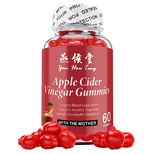 Yan Hou Tang Organic Apple Cider Vinegar Gummy Vitamins for Weight Loss Belly Control Detox Cleanse Support with Vitamin B6, B12-60 Gummies.
