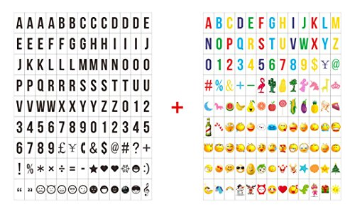 iPlanner 234Pcs Cinematic Light Box Colored/Black Emoji Letters Symbols Glyphs Card Pack, Special Decorative DIY Cinema Signs for A4 A5 Cinema Light Box -