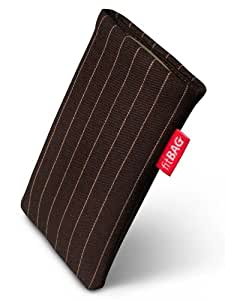 Twist Dark Brown fitBAG-Funda con pestaña para Nokia 2600 classic. Tejido de calidad con forro de microfibra para limpieza de pantalla