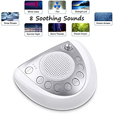 Masks Distractions HoMedics  Deep Sleep I Therapy Machine Sleep Therapy White Noise Device Adapter or Battery Operated Adjustable Tone /& Volume 4 Soothing Sounds Timer Dual Speakers
