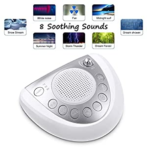 White Noise Sound Machine, 8 Natural Soothing Sounds for Sleeping, Timer, USB Charging Ports, Headphone Jack, Battery Powered, Portable Sound Therapy for Baby,Home, Office Privacy or Travel