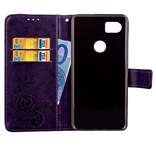 Wallet Case for Google Pixel 2 XL,Shinyzone Embossed PU Leather Flip Cover Handmade Bling Sparkly Diamond with 3D Flower Magnetic Closure Elegant Cover for Google Pixel 2 XL,Purple by ShinyZone (Image #4)