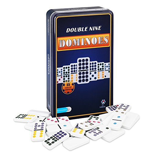 Dominoes Player - Doublefun Color Dominoes Games, Double 9 Color Dot Dominoes Set Domino Rally Table Games with Iron Box, 55 pcs