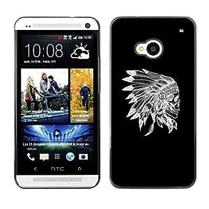 Design for Girls Plastic Cover Case FOR HTC One M7 Skull Indian Native American Black OBBA