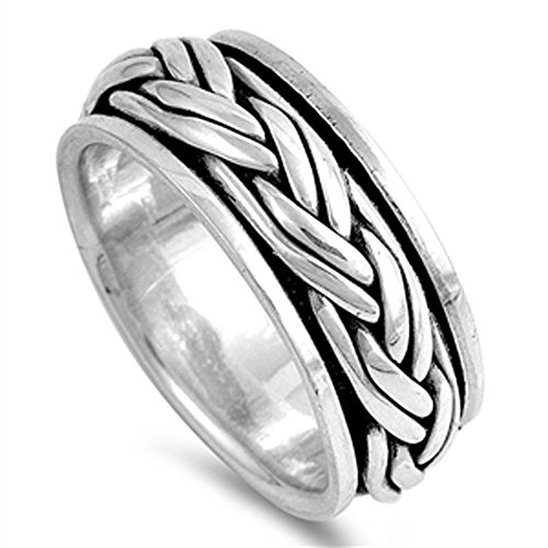 Double Accent Sterling Silver Oxidize Finish Braided Rope Design Spinner Ring (Size 5 to 12) Size 9