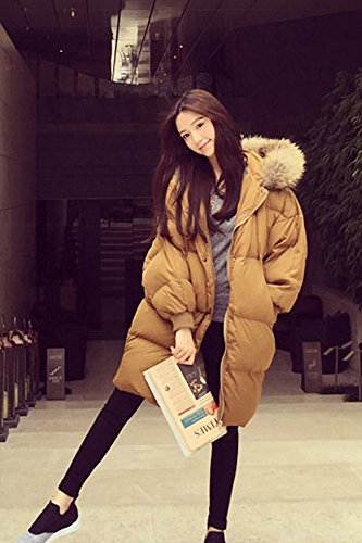 Generic Korean _real_raccoon_ fur collar down jacket Women _ovo_ hooded loose long _section_ thick coat casual clothes Women girl _bread