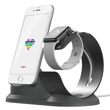 iitrust Soporte para iPhone y iWatch, 2 en 1 Soporte de Aleación de Aluminio para Apple Watch,Soporte Movil Cargador para iPhone 5S / 5 / SE/ 6/ 6s /6 ...