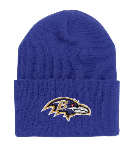 NFL End Zone Cuffed Knit Hat - K010Z, Baltimore Ravens, One Size Fits All