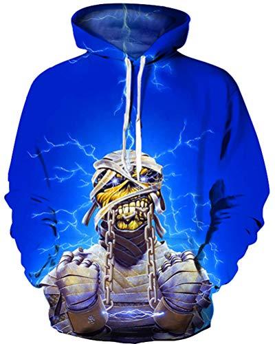 GLUDEAR Unisex Novelty Halloween Fire Skull 3D Print Pullover Hoodies Sweatshirt,Lightning Mummy,XXL -