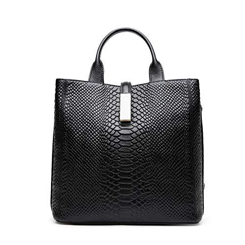 Jl Woman Sac à bandoulière en cuir, modèle Crocodile sauvage, Grand sac à bandoulière, Noir Noir