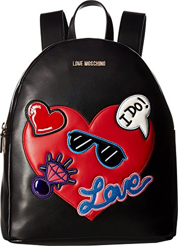 LOVE Moschino Women's Patches Backpack Black One Size by Love Moschino