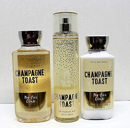Bath and Body Works Champagne Toast 2018 Limited Edition Shower Gel, Body Lotion, Fine Fragrance Mist Daily Trio Gift Set