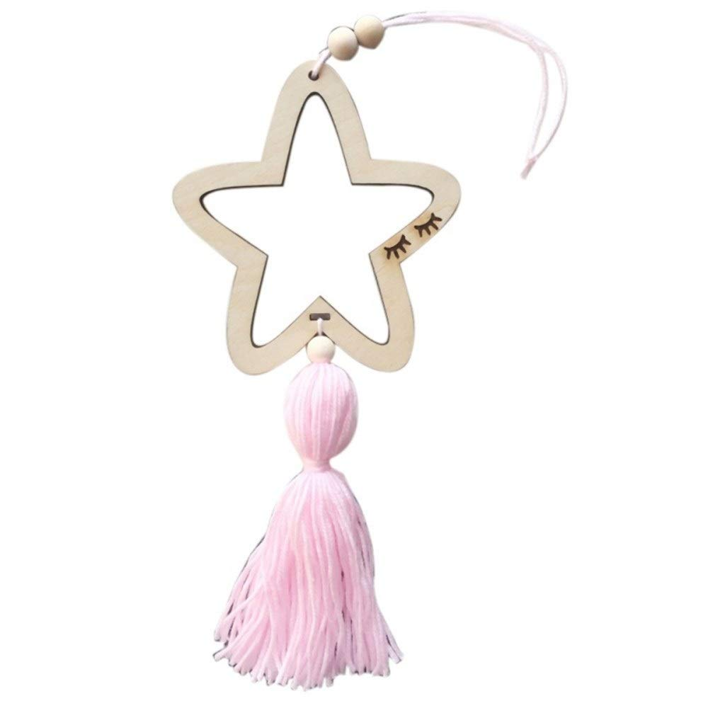 Nordic Style Wooden Star Wind Chimes Kid Home Accessories Art Wall Hanging for Girls Living Room Toddler Dream Catcher (Color : Pink)