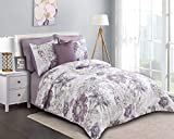 Purple and Grey Comforter Sets Wonder-Home Watercolor Floral Bed in A Bag King, 8 Pieces Brushed Soft Purple Grey Comforter with Sheet Set and Dec Pillow, Complete Bedding Set