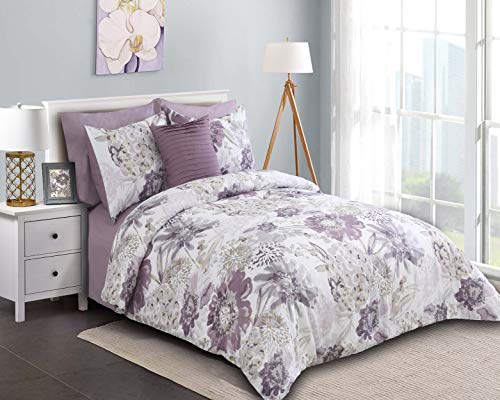 Wonder-Home Watercolor Floral Comforter Set Queen with Sheet, 8 Pieces Super Soft Brushed Purple Grey Bed in A Bag with Dec Pillow, Complete Bedding Set from Wonder-Home