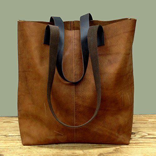 Distressed Brown tote bag Brushed sturdy leather handbag Handmade minimal Shopper purse