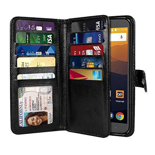 NEXTKIN Max XL N9560 Case, Leather Dual Wallet Folio TPU Cover, 2 Large Pockets Double flap Privacy, Multi Card Slots Snap Button Strap For ZTE Max XL N9560 - Black