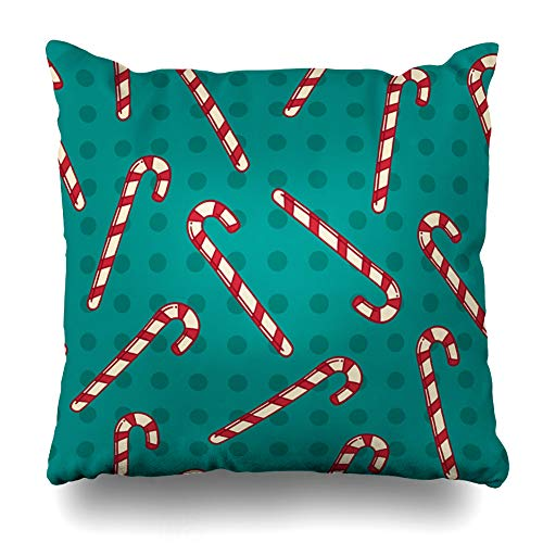Ahawoso Throw Pillow Cover Blue Christmas Candy Canes Holidays Green Circles Doodle Dots Drawing Drawn Design Red Decorative Zipper Cushion Case Square 18